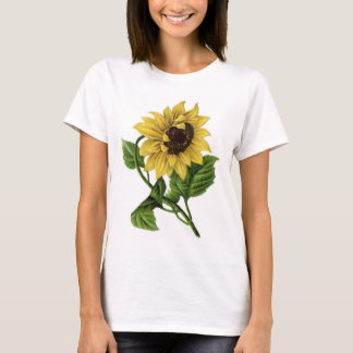Vintage Sunflower Drawing Ceramic T-Shirt