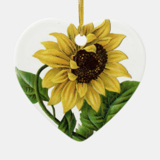 Vintage Sunflower Drawing Christmas Ornament