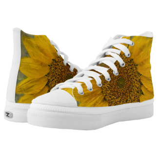 Vintage Sunflower High Top Lace Shoes