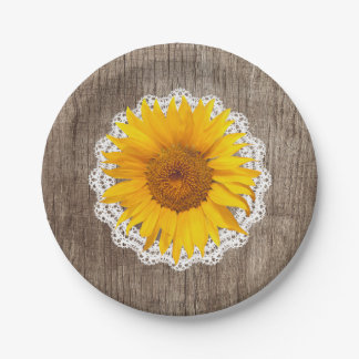 Vintage Sunflower Lace Barn Wood Rustic Wedding 7 Inch Paper Plate