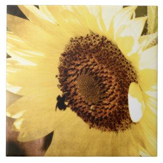 Vintage Sunflower Large Square Tile
