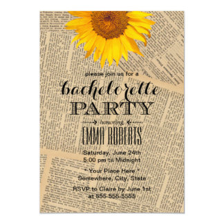 Vintage Sunflower Old Newspaper Bachelorette Party 13 Cm X 18 Cm Invitation Card