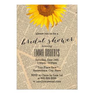 Vintage Sunflower Old Newspaper Bridal Shower 13 Cm X 18 Cm Invitation Card