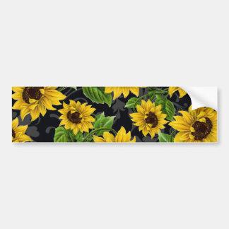 Vintage sunflower pattern bumper stickers