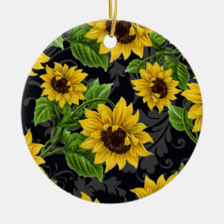 Vintage sunflower pattern christmas ornament