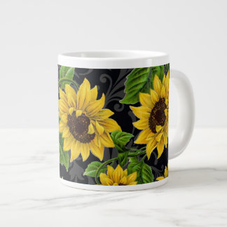 Vintage sunflower pattern large coffee mug