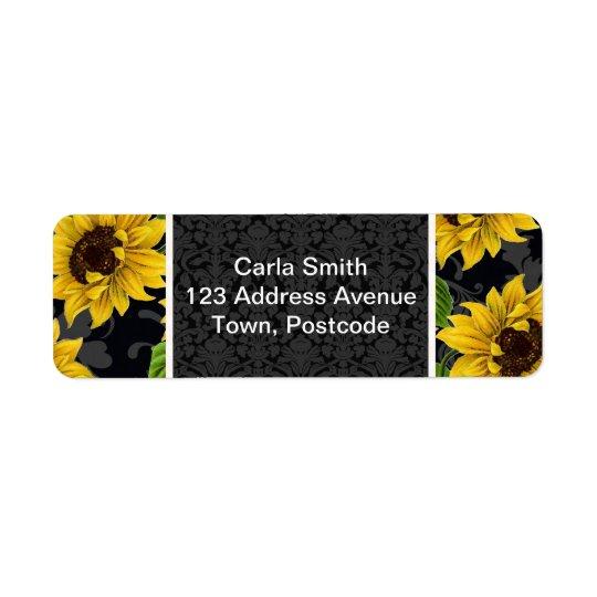 Vintage sunflower pattern return address label