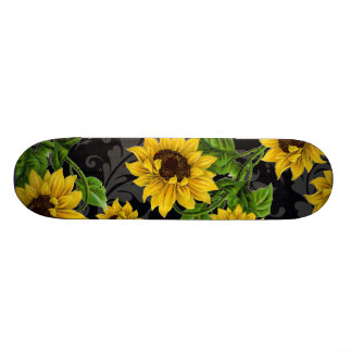 Vintage sunflower pattern skateboard