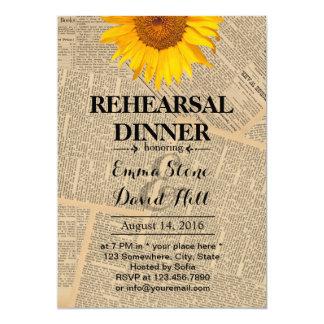 Vintage Sunflower Wedding Rehearsal Dinner 13 Cm X 18 Cm Invitation Card