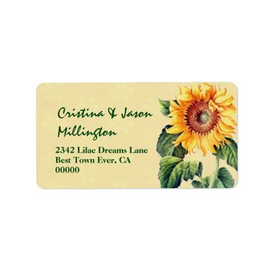 Vintage Sunflower Wedding V13 Gold and Green Label