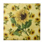 Vintage Sunflowers Ceramic Tiles