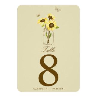 Vintage Sunflowers on Mason Jar Table Numbers Card 11 Cm X 16 Cm Invitation Card