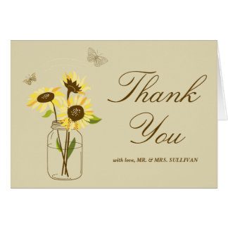 Vintage Sunflowers on Mason Jar Wedding Thank You Card