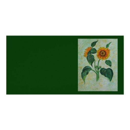Vintage Sunflowers Custom Photo Card