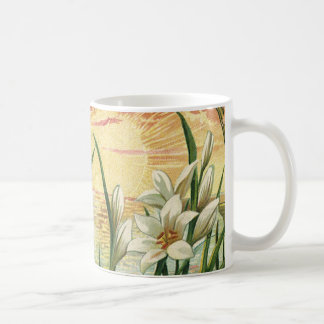 Vintage Sunrise Easter Lilies and Victorian Angels Basic White Mug
