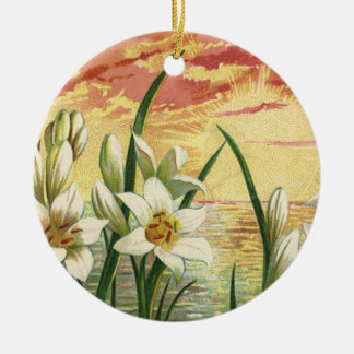 Vintage Sunrise Easter Lilies and Victorian Angels Round Ceramic Decoration