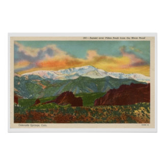 Vintage Sunset over Pikes Peak, Colorado Springs Poster