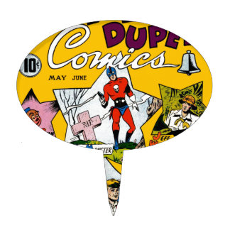 Vintage Super Hero Comic Oval Cake Topper