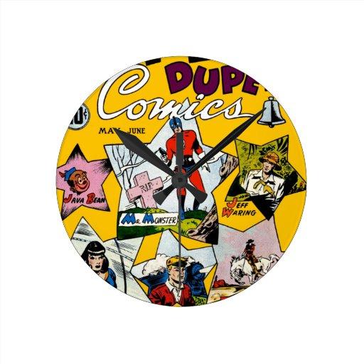 Vintage Super Hero Comic Round Wall Clock