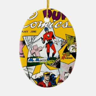Vintage Super Hero Comic Double-Sided Oval Ceramic Christmas Ornament