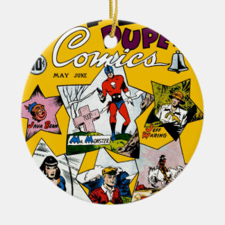 Vintage Super Hero Comic Double-Sided Ceramic Round Christmas Ornament