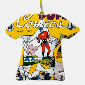 Vintage Super Hero Comic Double-Sided T-Shirt Ceramic Christmas Ornament