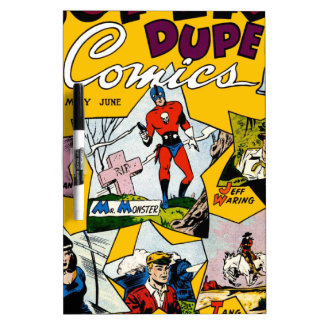 Vintage Super Hero Comic Dry-Erase Whiteboard