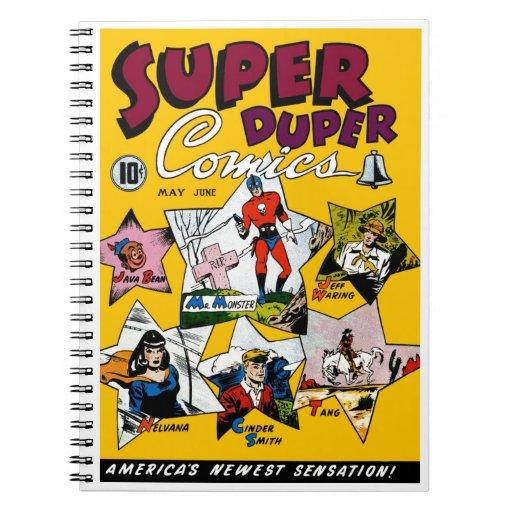 Vintage Super Hero Comic Spiral Note Books
