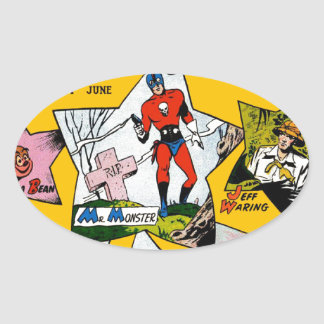 Vintage Super Hero Comic Oval Sticker