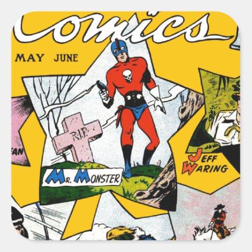 Vintage Super Hero Comic Square Stickers
