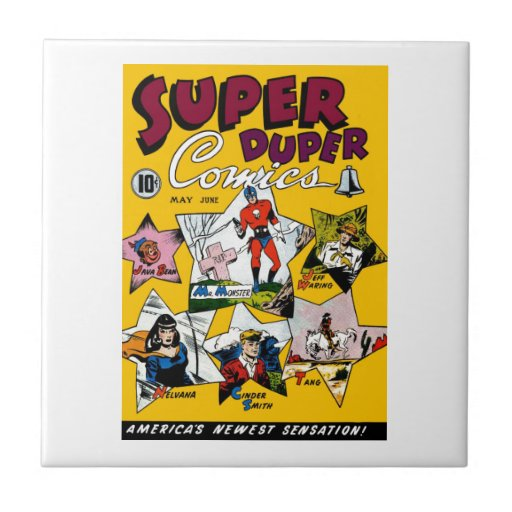 Vintage Super Hero Comic Ceramic Tile