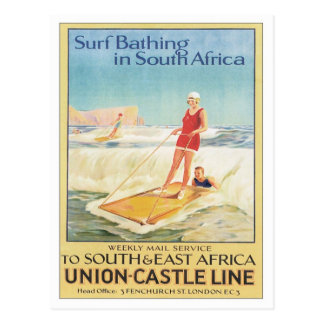 Vintage Surf Bathing South Africa Postcard