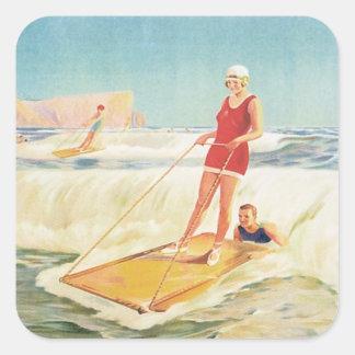 Vintage Surf Bathing South Africa Square Sticker