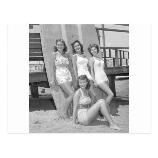 vintage surfer girls post cards