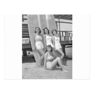 vintage surfer girls postcard