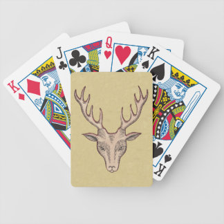 Vintage Surreal Deer Head Antlers Bicycle Playing Cards