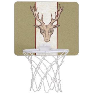 Vintage Surreal Deer Head Antlers Mini Basketball Hoop