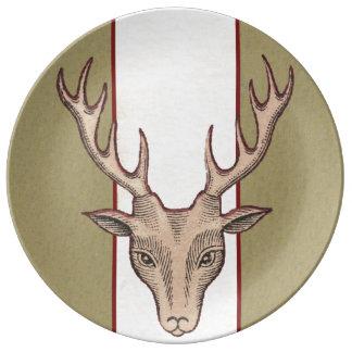 Vintage Surreal Deer Head Antlers Plate