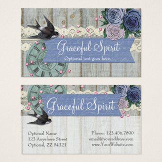 Vintage Swallow Bird Cobalt Blue Shabby Chic Craft Business Card