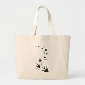 Vintage Swallow Birds Art Tote Bags