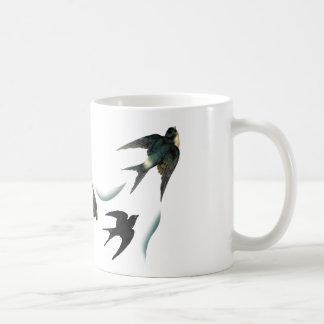 Vintage Swallow Birds Art Basic White Mug