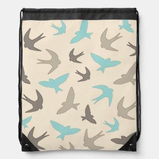Vintage Swallow Birds Pattern Brown Beige Blue Cinch Bag