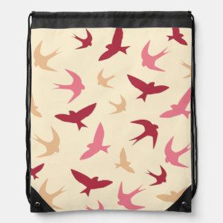 Vintage Swallow Birds Pattern Cream Red Pink Cinch Bag