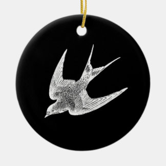 Vintage Swallow Illustration - 1800's Antique Bird Christmas Ornament