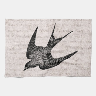Vintage Swallow Illustration - 1800's Antique Bird Tea Towel