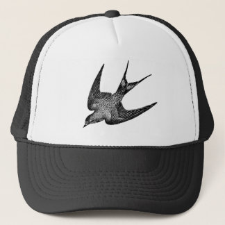 Vintage Swallow Illustration - 1800's Antique Bird Trucker Hat