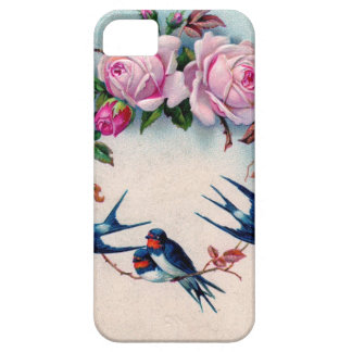 vintage swallows and roses on cyan iPhone 5 cases