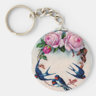 vintage swallows and roses on cyan key ring