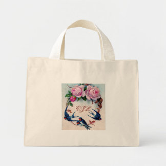 vintage swallows and roses on cyan mini tote bag