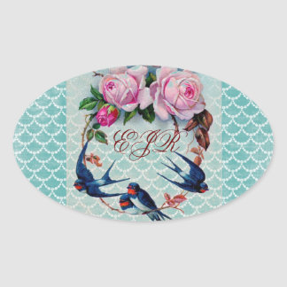 vintage swallows and roses on cyan oval sticker